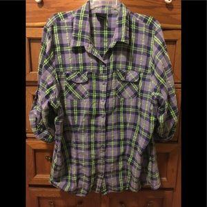 Torrid Purple and green plaid button down shirt